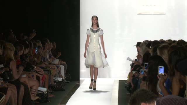 stockvideo's en b-roll-footage met models walk down the runway during herve leger by max azria spring 2014 mercedesbenz fashion week on september 07 2013 at lincoln center new york new... - bcbg max azria