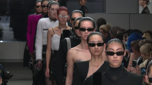 models walk the runway at alexander wang - new york fashion week at 4 times square on february 10, 2018 in new york city. - fashion show stock videos & royalty-free footage