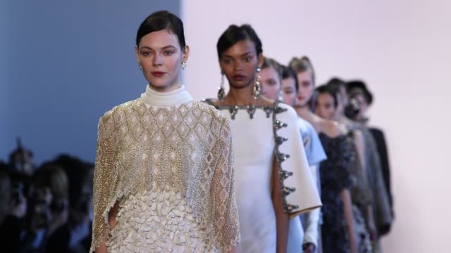 Models walk the runway at Badgley Mischka New York Fashion Week at Gallery I at Spring Studios on February 13 2018 in New York City