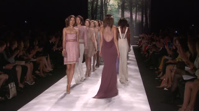 Models walk the runway at Badgley Mischka Spring 2013 MercedesBenz Fashion Week at The Theater at Lincoln Center on September 11 2012 in New York New...