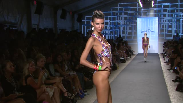 models walk the runway at beach bunny mercedesbenz fashion week swim 2014 at the raleigh hotel miami florida july 19 2013 beach bunny mercedesbenz... - grande stock videos and b-roll footage
