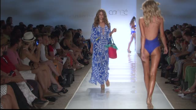models walk the runway at caffe swimwear - mercedes-benz fashion week swim 2015 at cabana grande at the raleigh hotel on july 20, 2014 in miami,... - mercedes benz fashion week stock videos & royalty-free footage