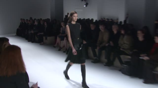 models walk the runway at calvin klein collection - fall 2013 mercedes-benz fashion week at 205 west 39th street on february 14, 2013 in new york,... - fashion collection stock videos & royalty-free footage