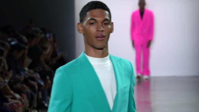 models walk the runway at carlos campos - runway - september 2019 nyfw at gallery ii at spring studios on september 06, 2019 in new york city. - new york fashion week stock videos & royalty-free footage