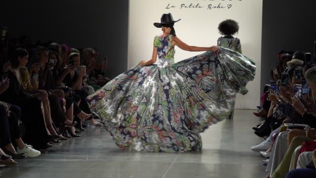 models walk the runway at chiara boni - runway - september 2019 nyfw at gallery ii at spring studios on september 07, 2019 in new york city. - new york fashion week stock videos & royalty-free footage