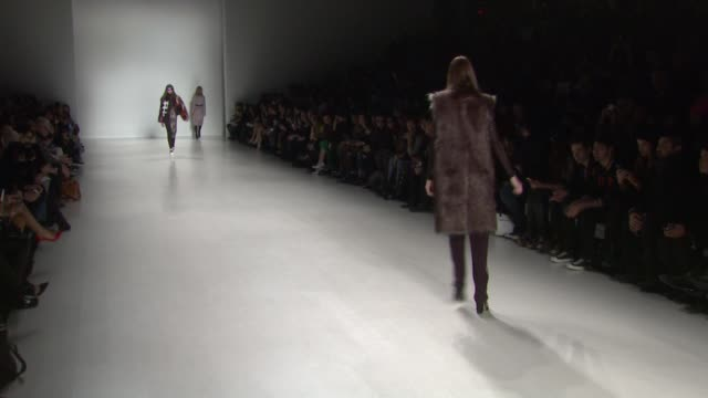 models walk the runway at custo barcelona - fall 2014 mercedes-benz fashion week at the salon at lincoln center on in new york city. - mercedes benz fashion week stock videos & royalty-free footage
