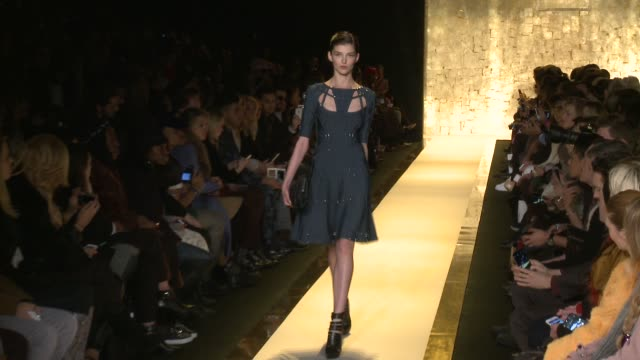 stockvideo's en b-roll-footage met models walk the runway at herve leger by max azria fall 2015 mercedesbenz fashion week at the theater at lincoln center on february 14 2015 in new... - bcbg max azria