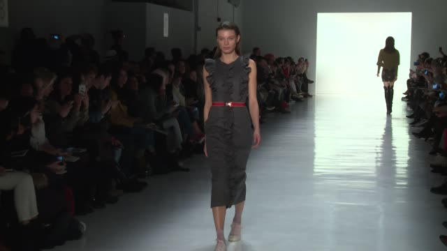 stockvideo's en b-roll-footage met models walk the runway at marcel ostertag february 2017 new york fashion week at skylight clarkson sq on february 12 2017 in new york city - skylight clarkson sq