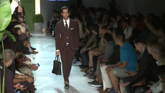 models walk the runway at michael bastian s/s 2016 nyfw mens runway show at skylight clarkson sq on july 15 2015 in new york city - spring summer collection stock videos & royalty-free footage