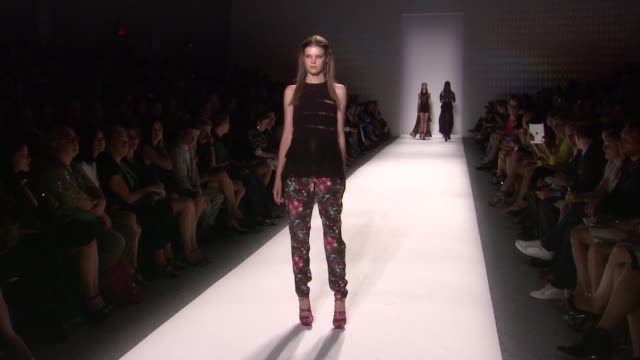 models walk the runway at nicole miller - runway - spring 2013 - mercedes-benz fashion week at the studio at lincoln center on september 07, 2012 in... - mercedes benz fashion week stock videos & royalty-free footage