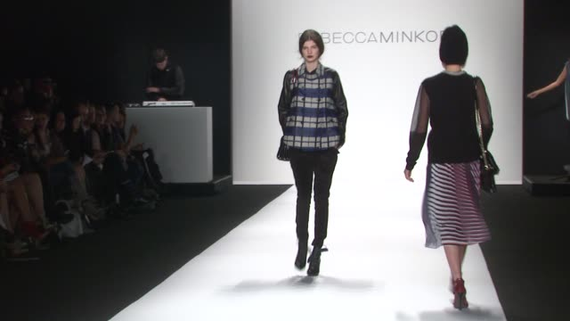 models walk the runway at rebecca minkoff - spring 2014 mercedes-benz fashion week at the theatre at lincoln center on in new york city. - mercedes benz fashion week stock videos & royalty-free footage