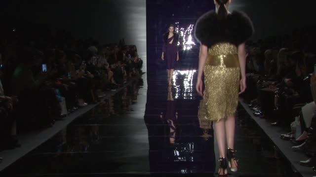 models walk the runway at reem acra - fall 2014 mercedes-benz fashion week at the salon at lincoln center on in new york city. - mercedes benz fashion week stock videos & royalty-free footage