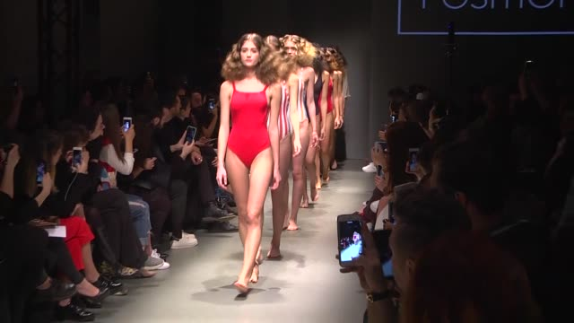 models walk the runway at the 5th position show during the mercedes-benz fashion week istanbul at zorlu center on march 15, 2016 in istanbul, turkey. - swimwear点の映像素材/bロール