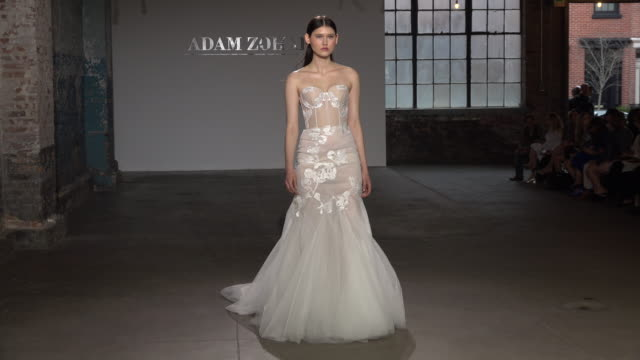 models walk the runway at the adam zohar show during new york fashion week bridals on april 14 2018 in new york city - catwalk stock videos & royalty-free footage
