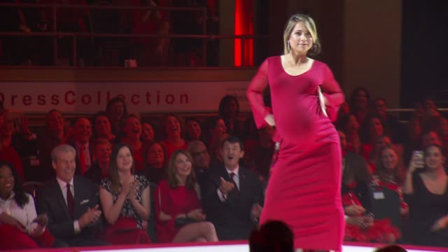 models walk the runway at the american heart association's go red for women red dress collection 2018 presented by macy's at hammerstein ballroom on... - ginger zee stock videos & royalty-free footage