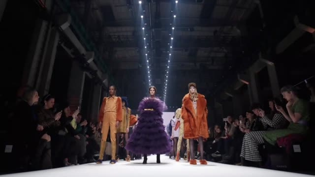berlin germany january 14 models walk the runway at the danny reinke show during berlin fashion week autumn/winter 2020 at kraftwerk mitte on january... - gif stock videos and b-roll footage