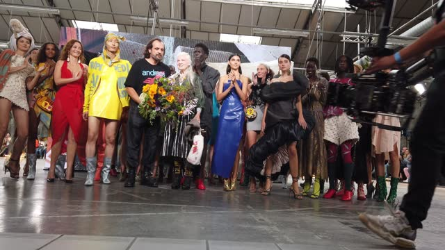 models walk the runway at the finale of the vivienne westwood fashion show during the paris fashion week - spring / summer 2022 on october 2 in... - westwood neighborhood los angeles stock videos & royalty-free footage