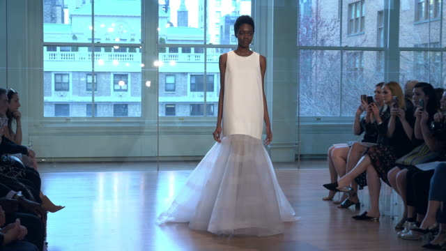 models walk the runway at the justin alexander show during new york fashion week bridals on april 13 2018 in new york city - runway stock videos & royalty-free footage