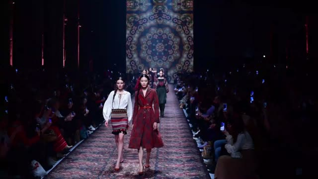 berlin germany january 15 models walk the runway at the lena hoschek show during berlin fashion week autumn/winter 2020 at kraftwerk mitte on january... - gif stock videos and b-roll footage