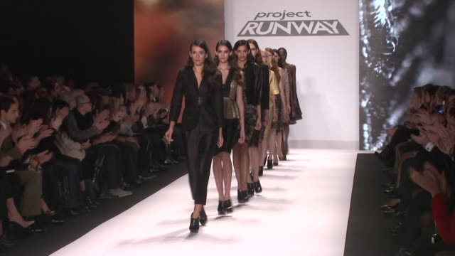models walk the runway at the project runway fall 2013 fashion show during project runway - fall 2013 mercedes-benz fashion week at the theater at... - mercedes benz fashion week stock videos & royalty-free footage
