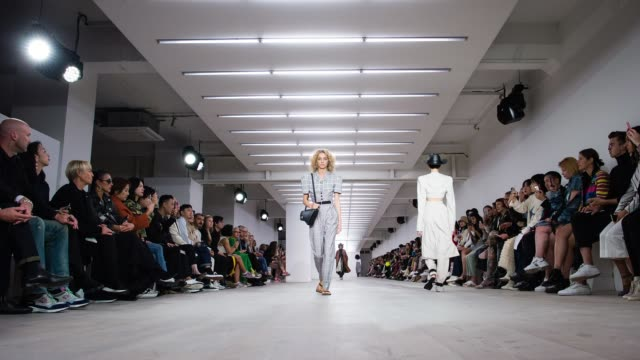 models walk the runway at the ych show during london fashion week september 2019 at the bfc show space on september 17, 2019 in london, england. - fashion week stock videos & royalty-free footage