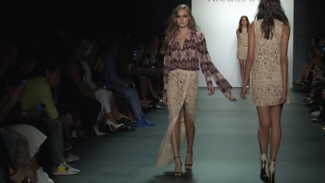 stockvideo's en b-roll-footage met models walk the runway at thomas wylde new york fashion week s/s 2016 at the dock skylight at moynihan station on september 16 2015 in new york city - thomas wylde