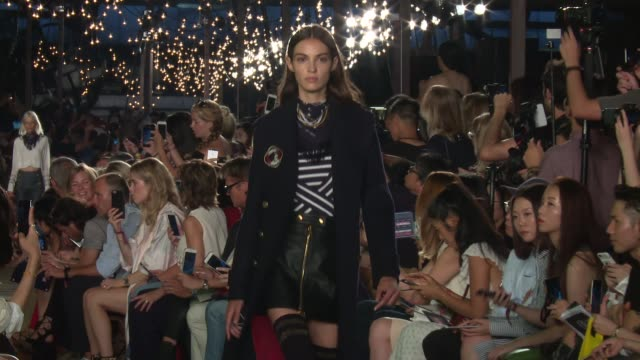 models walk the runway at tommy hilfiger september 2016 new york fashion week at pier 16 south street seaport on september 09 2016 in new york city - tommy hilfiger designer label stock videos and b-roll footage