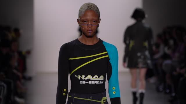models walk the runway at turkish designers - nyfw february 2020 at gallery ii at spring studios on february 11, 2020 in new york city. - ニューヨークファッションウィーク点の映像素材/bロール