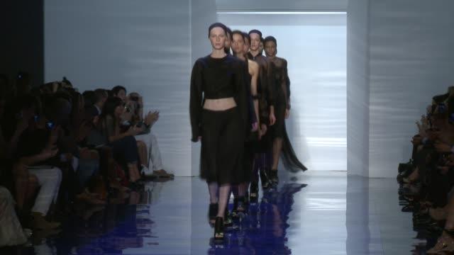 models walk the runway at vera wang runway spring 2014 mercedesbenz fashion week in new york ny on 9/10/13 - catwalk stock videos & royalty-free footage
