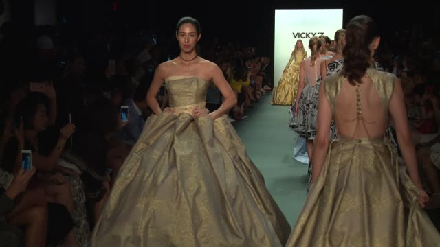models walk the runway at vicky zhang september 2016 new york fashion week at the dock skylight at moynihan station on september 10 2016 in new york... - moynihan station stock videos & royalty-free footage