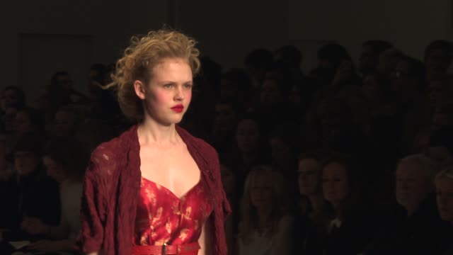 models walk the runway at vivienne westwood red label a/w14 london fashion week show at bfc courtyard showspace on february 16 2014 in london england - westwood stock-videos und b-roll-filmmaterial