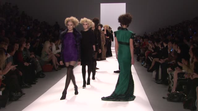 models walk the runway at zang toi - fall 2013 mercedes-benz fashion week at the stage lincoln center on february 13, 2013 in new york, new york - mercedes benz fashion week stock videos & royalty-free footage