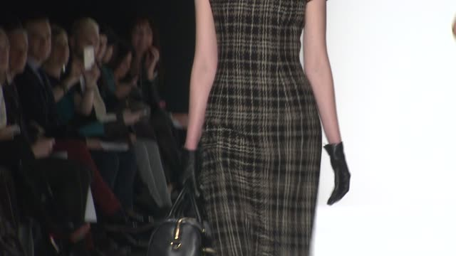models walk the runway - badgley mischka - fall 2014 mercedes-benz fashion week at the theatre at lincoln center on february 11, 2014 in new york... - mercedes benz fashion week stock videos & royalty-free footage