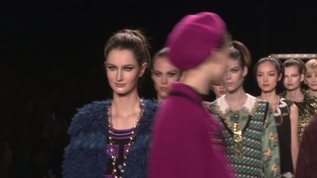 models walk the runway during anna sui - fall 2013 mercedes-benz fashion week at the theatre at lincoln center on february 13, 2013 in new york, new... - mercedes benz fashion week stock videos & royalty-free footage