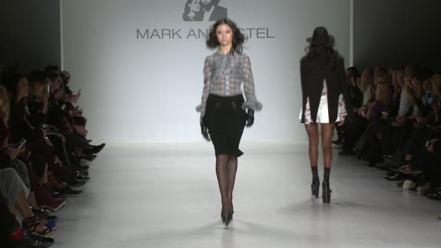 models walk the runway during mark & estel - fall 2015 mercedes-benz fashion week at the salon at lincoln center on february 13, 2015 in new york... - 既製服点の映像素材/bロール