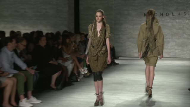 models walk the runway during nicholas k - runway - spring 2015 mercedes-benz fashion week at the pavilion at lincoln center on september 04, 2014 in... - mercedes benz fashion week stock videos & royalty-free footage