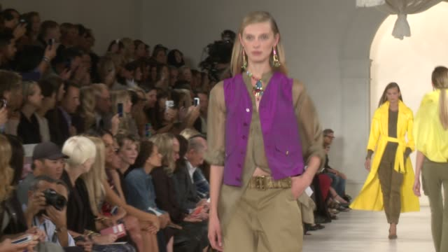 models walk the runway during ralph lauren - runway - spring 2015 mercedes-benz fashion week at skylight clarkson sq on september 11, 2014 in new... - mercedes benz fashion week stock videos & royalty-free footage