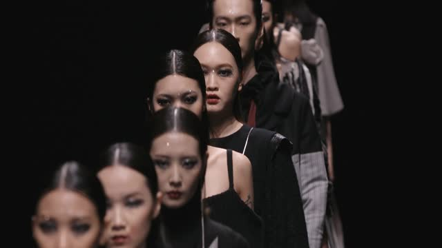 models walk the runway during the 95s.y collection show by chain yu on day seven of china fashion week a/w 2021/2022 at 751d.park on march 30, 2021... - fashion collection stock videos & royalty-free footage
