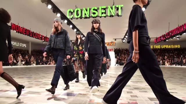models walk the runway during the dior show as part of the paris fashion week womenswear fall/winter 2020/2021 on february 25 2020 in paris france - gif stock videos & royalty-free footage
