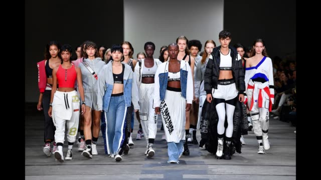 models walk the runway during the p.e nation show at mercedes-benz fashion week resort 20 collections at carriageworks on may 13, 2019 in sydney,... - fashion show点の映像素材/bロール