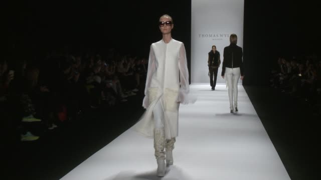 stockvideo's en b-roll-footage met models walk the runway during thomas wylde fall 2015 mercedesbenz fashion week at the theater at lincoln center on february 18 2015 in new york city - thomas wylde