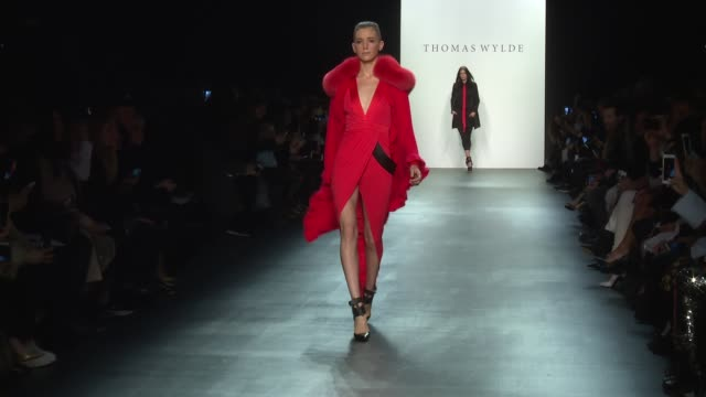stockvideo's en b-roll-footage met models walk the runway during thomas wylde nyfw womens f/w 2016 at the dock skylight at moynihan station on february 15 2016 in new york city - thomas wylde