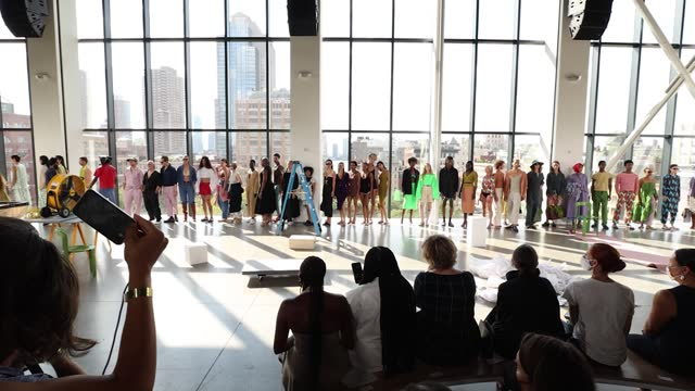 models walk the runway for rachel comey during nyfw: the shows at gallery at spring studios on september 11, 2021 in new york city. - メルセデスベンツファッションウィーク点の映像素材/bロール