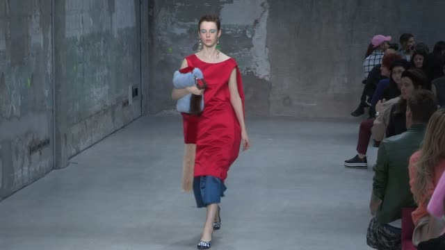 models walk the runway for the marni ready to wear spring summer 2018 fashion show in milan sunday september 24 2017 milan italy - marni stock videos & royalty-free footage