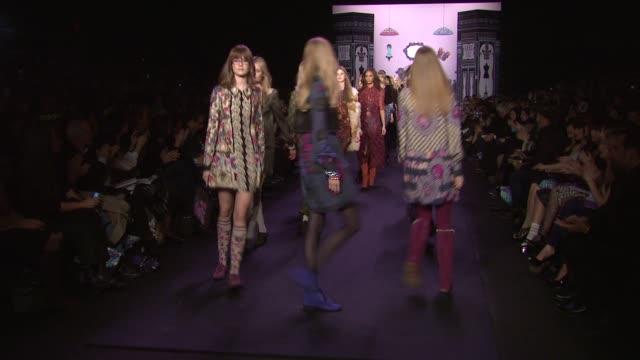 Models walk the runway wearing Anna Sui Fall 2011 collection during MercedesBenz Fashion Week Fall 2011 at the Anna Sui Fall 2011 MBFW at New York NY