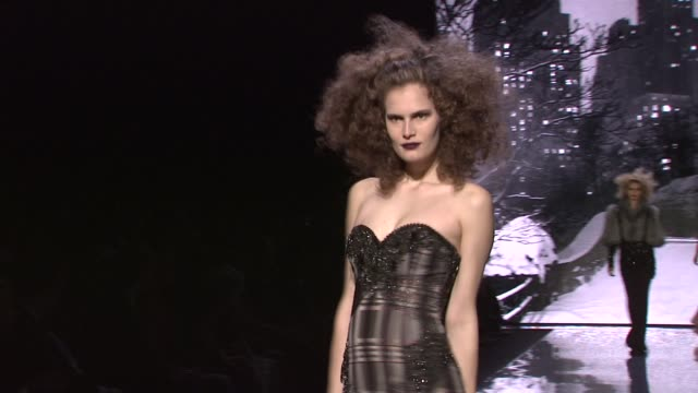 models walk the runway wearing badgley mischka fall 2012 collection during mercedes-benz fashion week fall 2012 on 2/14/12 in new york, ny. - fashion collection stock videos & royalty-free footage