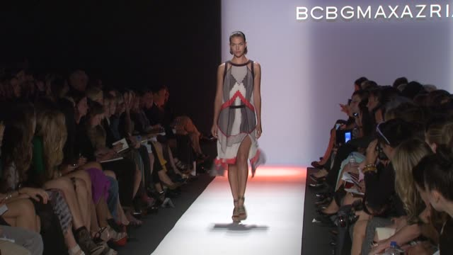 stockvideo's en b-roll-footage met models walk the runway wearing bcbg max azria spring 2012 show during mercedesbenz fashion week spring 2012 at the bcbg max azria spring 2012... - bcbg max azria