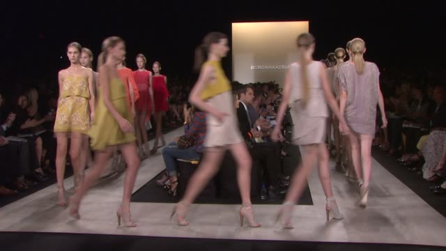 models walk the runway wearing bcbgmaxazria spring 2011 collection during mercedes-benz fashion week spring 2011 at the bcbgmaxazria - spring 2011... - fashion collection stock videos & royalty-free footage