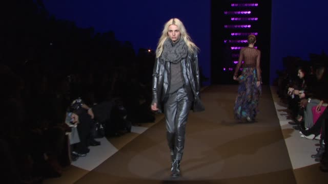 models walk the runway wearing custo barcelona fall 2011 collection during mercedes-benz fashion week fall 2011 at the custo barcelona - fall 2011... - mercedes benz fashion week stock videos & royalty-free footage