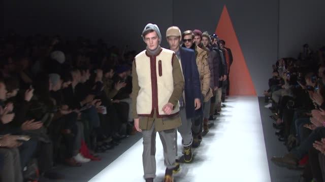 models walk the runway wearing general idea fall 2012 collection during mercedes-benz fashion week fall 2012 on in new york, ny. - fashion collection stock videos & royalty-free footage